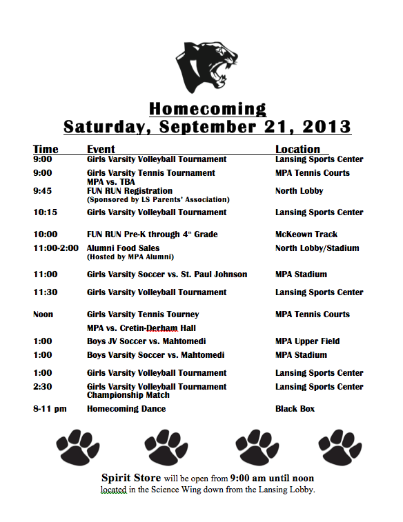 Homecoming 2013 Schedule - Mounds Park Academy News