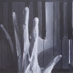 Painting of hands on piano keys
