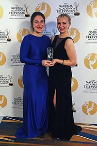 Erin Law and Megan McKinley with their Crystal Pillar Award