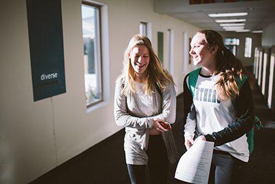 upper school students in hallway