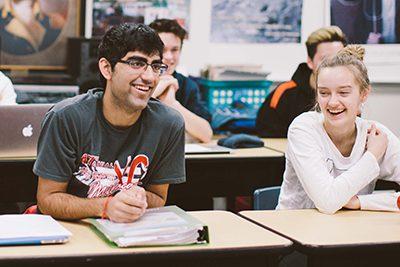 upper school students in class