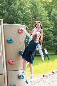 lower school girls on playground