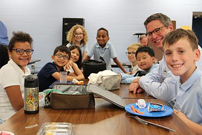 dr. Hudson at lower school lunch
