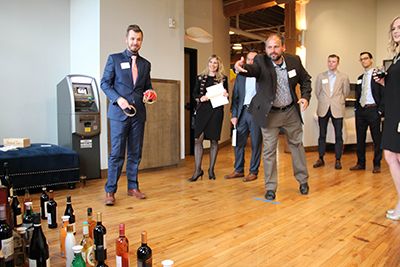 wine toss at the 2018 spring auction