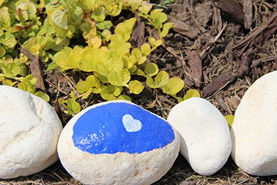 Painted rock with a heart