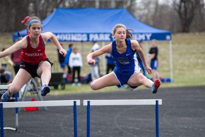 Ellie Quam doing the hurdles
