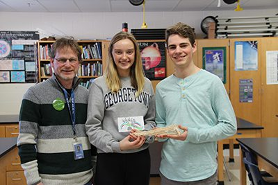 Gabby Law and Henry Peterson with Mr. Shapiro