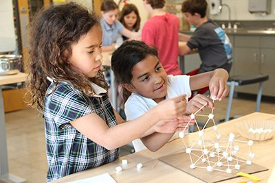 Lower School Students making sculptures in the Makerspace