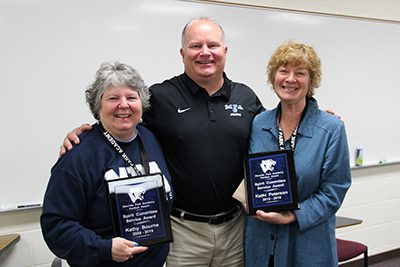 Dan Haase celebrates with Kathy Bourne and Kathi Peterson