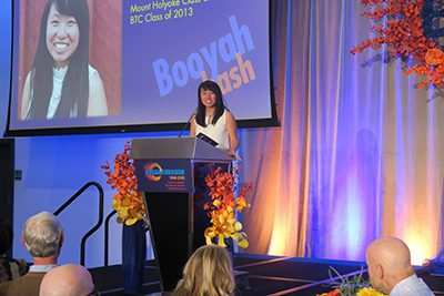 Pa Chia Thao '13 speaking at the Booyah Bash gala