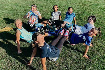 MS girls soccer team doing team building