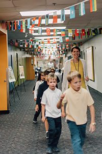flags decorating the halls for culture day