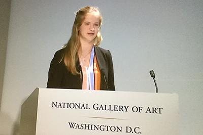 Sofie Netteberg '16 speaking at the national gallery of art