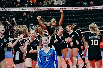 girls volleyball team at the state tournament