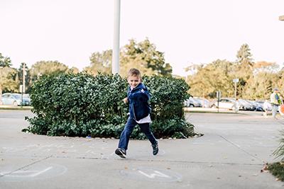 PreK student arriving at school