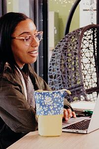 upper school student on a laptop