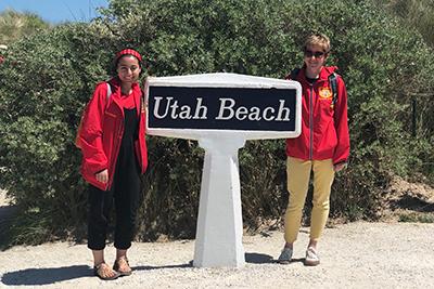 salmah and Katie at Utah beach