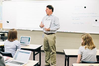 Mr. vergin teaching in his classroom