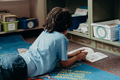 lower schooler reading independently