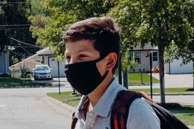 middle school student wearing a mask