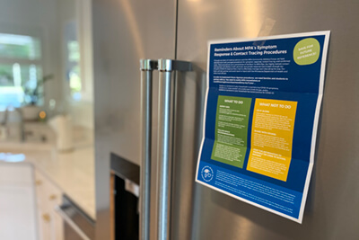 put your MPA contact tracing on your fridge to remember the process