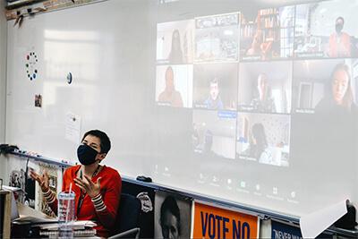ms. Murr teaching her hybrid class
