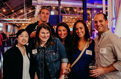 alumni gathering at a 2019 homecoming event