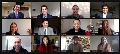 MPA debate team virtually on Zoom