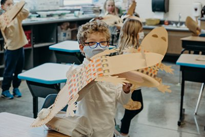 first grader in art class