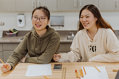 international students in the makerspace
